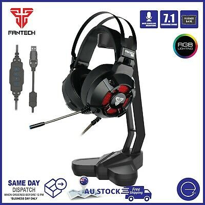 AU69.95 • Buy PC Gaming Headset USB Wired Mic 7.1 Surround Sound RGB Light With Stand Bundle