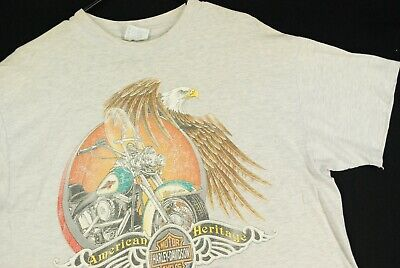 $ CDN31.35 • Buy Vintage 80s Harley Davidson Motorcycles Eagle Biker T Shirt Mens L Gray