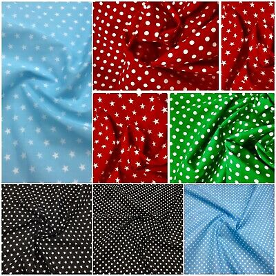 £4.49 • Buy Polycotton Polka Dot And Star Dress Making Craft Fabric * All Colours *