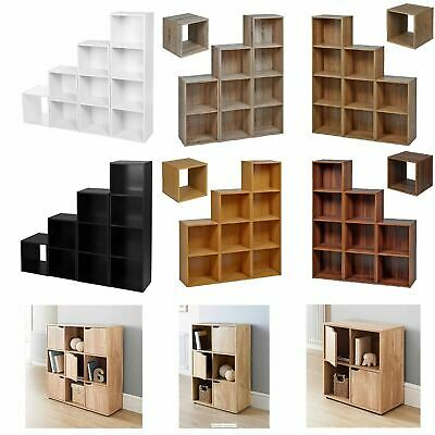 Free Standing Cube 2 3 4 Tier Wooden Bookcase Storage Shelf Unit Display Wood • 9.99£