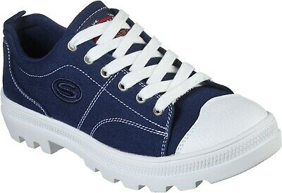 Skechers Roadies True Roots Womens Ladies Canvas Shoes Pumps Trainers Navy UK Si • 55£