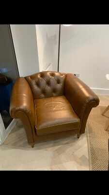 Chesterfield Distressed Tan Leather Armchair / Chair - Marks & Spencer • 395£