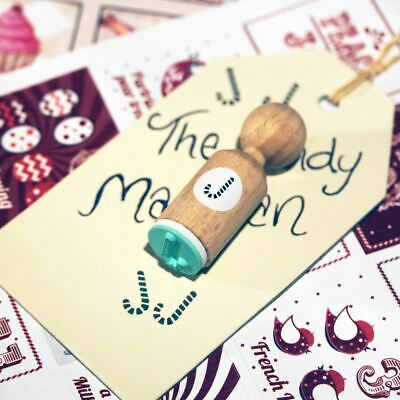 £4.25 • Buy Christmas Candy Cane VERY MINI Round Rubber Stamp