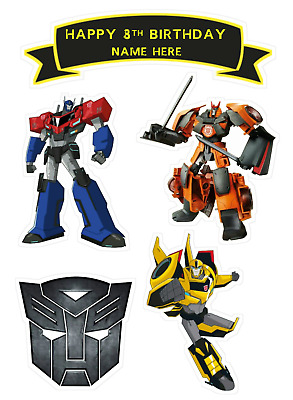 TOP QUALITY  TRANSFORMERS  PERSONALISED Edible CAKE Toppers A4 Icing/Wafer  • 3.79£