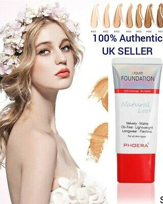 PHOERA Matte Liquid Skin Foundation Full Coverage Long Lasting Light Face Makeup • 5.99£