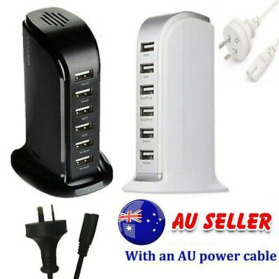 AU18.30 • Buy 6 Port Charging Station USB Desktop Charger Rapid Tower Power Adapter Wall HUB~M
