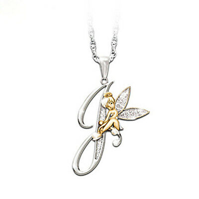 Stunning Tinkerbell Fairy Alphabet Letter  J   Pendant Necklace With Organza Bag • 2.99£