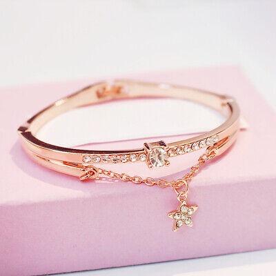Fashion Rose Gold Plated Stainless Steel Bangle Bracelet Star Chain Jewellery SG • 5.19£