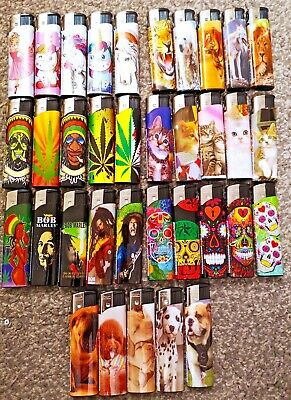 £2.99 • Buy 5 Pack Electronic Refillable Lighters Multi Pack Assorted Designs & Silver Rizla