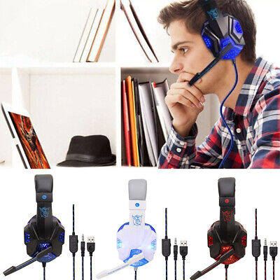 Gaming Headset LED Headphones With Microphone For Laptop Sony PS4 Xbox OneSwitch • 4.99£