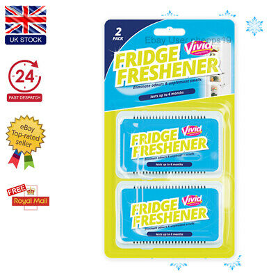 Pack Of 2 Fridge Freshener Eliminates Refrigerator Smells Odour Air Deodoriser • 4.49£