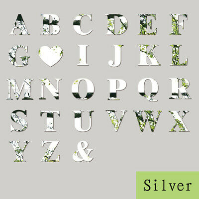 Mirror Wall Sticker 26 Letters DIY Art Mural Home Decor Acrylic Decals Silver • 3.61£