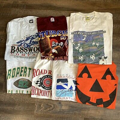 $ CDN78.20 • Buy Vintage 90s Wholesale T Shirt Bundle ALL SINGLE STITCH Box Lot Of 7 Shirts RARE