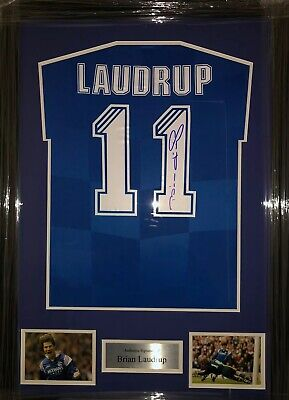Signed Framed Brian Laudrup Retro Rangers Home Shirt • 299.99£