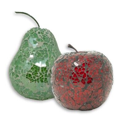 £16.95 • Buy Mosaic Glass Green Pear & Red Apple Set Decorative Fruit Display Piece Gift