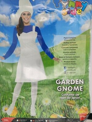 Ladies Smurf Garden Gnome Fancy Dress Costume Size Small 8-10 Party • 8£