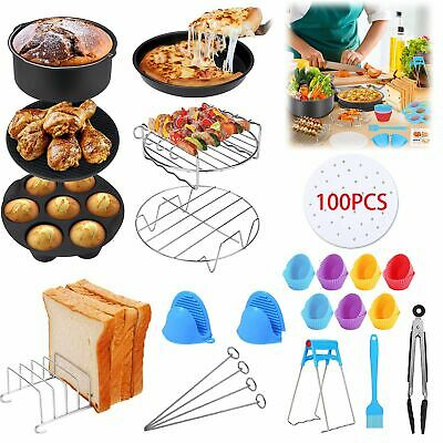 AU24.99 • Buy 130PCS Air Fryer Accessories Rack Cake Pizza 8inch Barbecue Frying Pan Tray AU