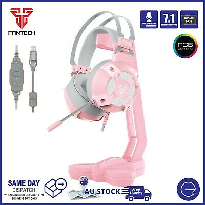 AU69 • Buy Fantech Pink PC Gaming Headset / Headphone Stand USB 7.1 Sound RGB Light Bundle