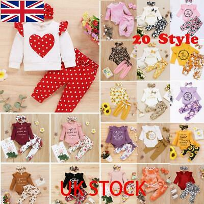 3pcs Newborn Baby Girls Ruffled Romper Tops Floral Pants Headband Clothes Outfit • 10.39£