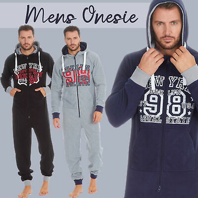 Mens 2Onesie All In One Jumpsuit Playsuit Hooded With Pockets American New York  • 18.99£