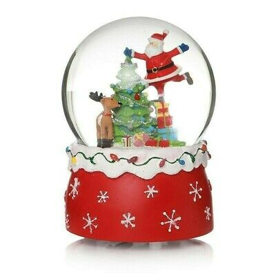 New Christmas Musical Snow Globe 14cm Santa Claus Tree Scene Ornament #51694  • 11.99£