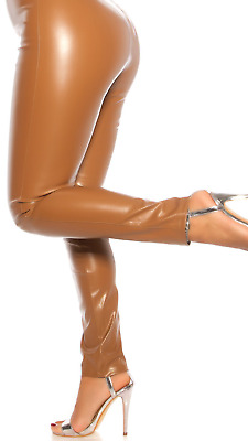 New Womens Wet Look Leggings Leather Look Pants Size 8 10 12 Shiny PVC Trousers  • 9.90£