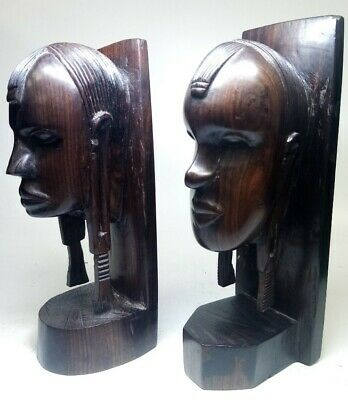 Pair Of Two Wooden Carved Native Bookends Tribal African Ethnic Sculpture #940 • 9.99£