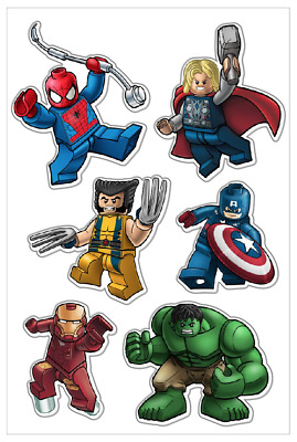 LEGO MARVEL STICKERS 👨 Art Vinyl Decal Skateboard Laptop Car Wall (A5 Set) • 2.99£