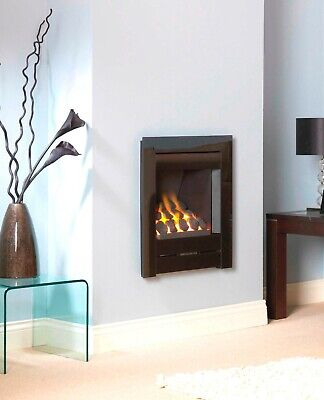 £429 • Buy Gas Fire Black Inset Full Depth Wall Inset Mounted Glass Frame Coal Fuel Bed