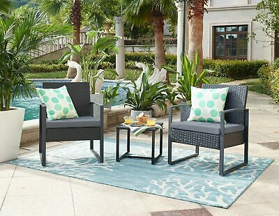 AU199.99 • Buy 3pc Lounge Set Outdoor Furniture Rattan Wicker Chair Table Garden Patio Balcony