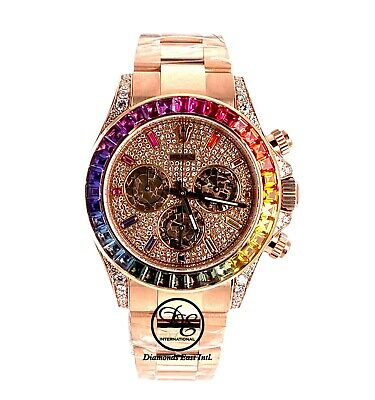 $ CDN75736.71 • Buy Rolex Daytona 116505 Rainbow Diamonds And Sapphires 18K Rose Gold Watch UNWORN