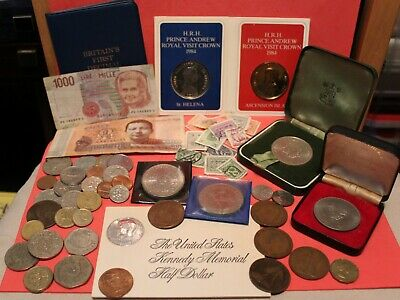 Joblot Of Old Coins, Foreign & Some British-notes And Stamps And Decimal Set • 15£