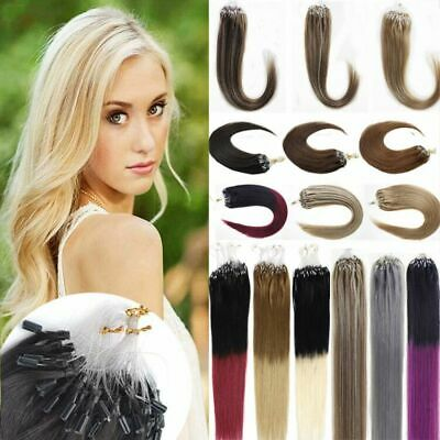 £22.37 • Buy Pre-Looped Micro Ring Beads Link Hair Extensions Indian Remy Human Hair Balayage