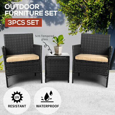 AU245.99 • Buy Outdoor Furniture Set Patio Garden 3 Pcs Chair Table Rattan Wicker Cushion Seat