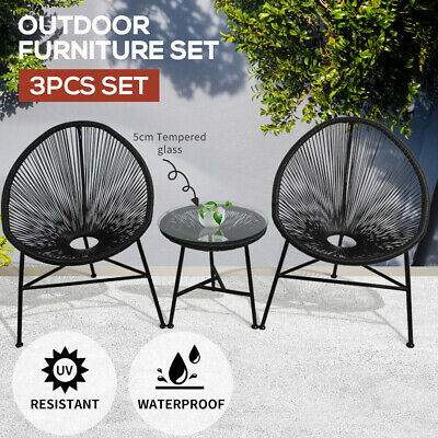 AU239.99 • Buy 3Pcs Outdoor Furniture Set Garden Patio Chair Table Wicker Setting Chairs Bench