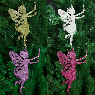 Pack Of 10 Glitter Fairy Angel Christmas Tree Xmas Hanging Pendant Decorations • 4.99£