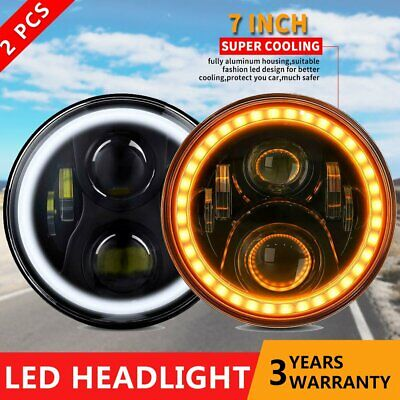 AU109.99 • Buy 2x 7inch Round LED Headlights Hi-Lo Beam DRL Turn Light For Toyota Land Cruiser