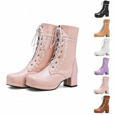 Sweet Women's Lolita Round Toe Block Heel Lace Up Ankle Boots Cosplay Ting1 • 26.88£