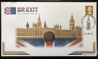 Brexit BUNC UK 50p Coin Stamp First Day Cover EU Exit 2020 Limited Edition • 27.50£