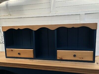 Small Pine Wall Cabinet/shelf Storage. Painted In Farrow & Ball #30 Hague Blue. • 22£