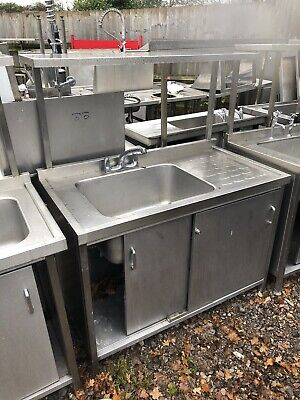 1.2M Long Stainless Steel Single Bowl Sink Unit With Taps, Doors & Over Shelf. • 300£