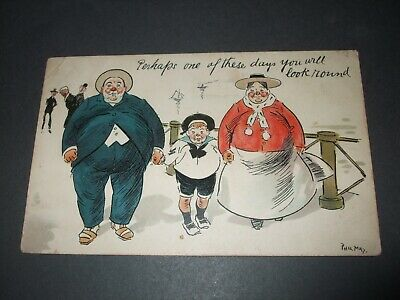 1904 Phil May Comic Raphael Tuck Fat Family Overweight You Will Look Round  • 2.60£