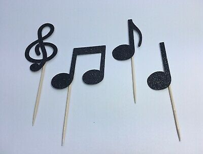 £6 • Buy Musical Note Symbols Glitter Music Cupcake Cake Topper 8 Pack Decoration