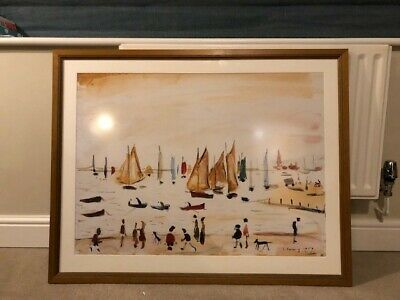LOWRY Framed Print Large Yachts 1959 • 30£