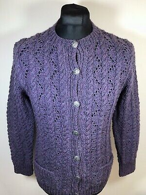 Vintage Women's Cardigan Sweater XS/Small Wool Coloured Aran Cable Pattern Knit • 24.73£