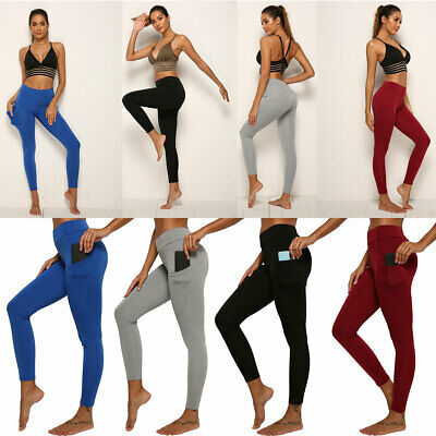 AU18.95 • Buy Women's Stretch Pocket Yoga Leggings Fitness Pants Sports Running Gym Trousers