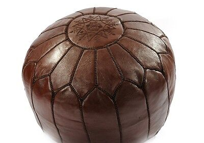 Moroccan Chocolate Brown Hand Stitched Leather Pouffe - Stuffed • 72.98£