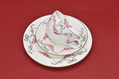 £150 • Buy Antique Aynsley Ribbons Bows & Pink Roses Tea Cup, Saucer & Side Plate Trio (A)