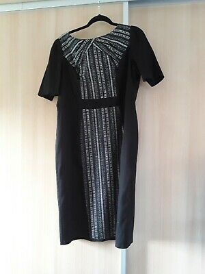 M&S Black,grey And White Work Dress Size 18 • 3£