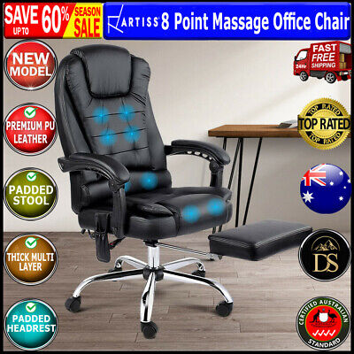 AU210.60 • Buy Artiss 8 Point Massage Office Chair Heated Reclining Gaming Office Chairs Black